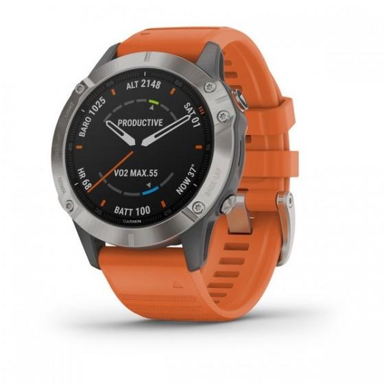 fēnix® 6 Pro and Sapphire Titane avec bracelet orange