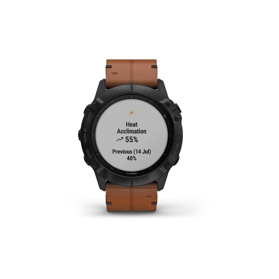 GARMIN MAROC, fēnix 6X - Pro and Sapphire editions Revêtement en carbone amorphe noir avec bracelet en cuir marron