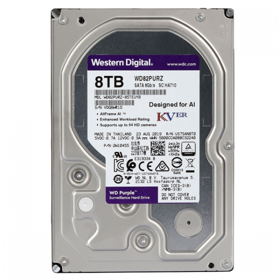 "Disque dur Western Digital WD Purple Surveillance    8 To / 3,5 "" / SATA III / 256 Mo"