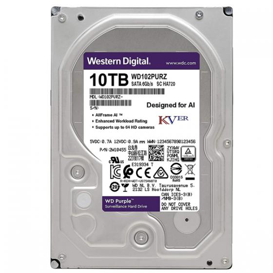 "Disque dur Western Digital WD Purple Surveillance    10 To / 3,5 "" / SATA III / 256 Mo"