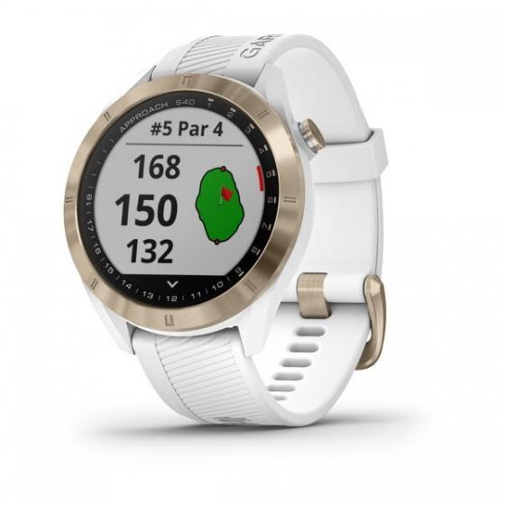 Montre Spécial GOLF Approach S40   Revêtement PVD or pâle avec bracelet blanc