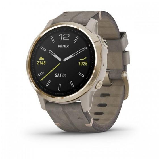 Montre GARMIN fēnix 6S Pro and Sapphire Gold Tone avec bracelet en Daim gris Maroc