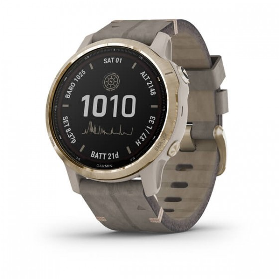 Fēnix 6S Pro Solar Light Gold avec bracelet Daim gris