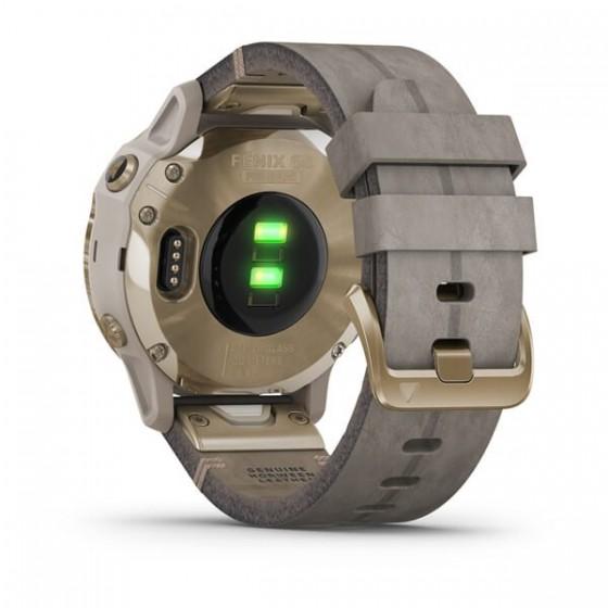Fenix 6S Pro Solar Light Gold avec bracelet Daim gris