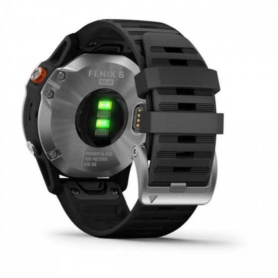 Fenix 6 Solar Silver bracelet noir